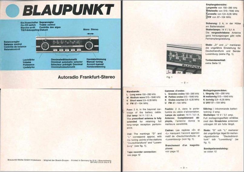 Blaupunkt Frankfurt Stereo Manual   U0026 39 72