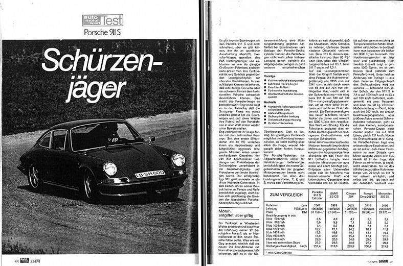 911s 2 4 1972 Auto Motor U Sport Test Non Porsche