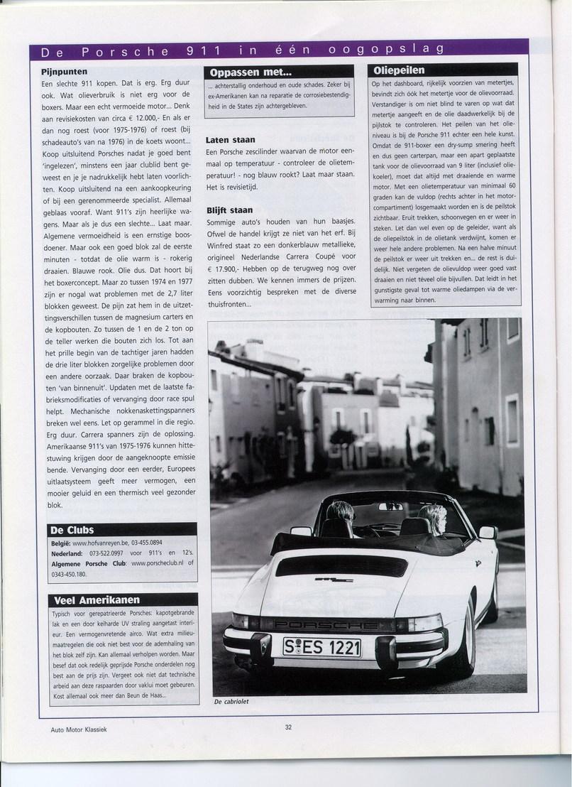Auto Motor Klassiek Oktober 2003 911 Artikel Non