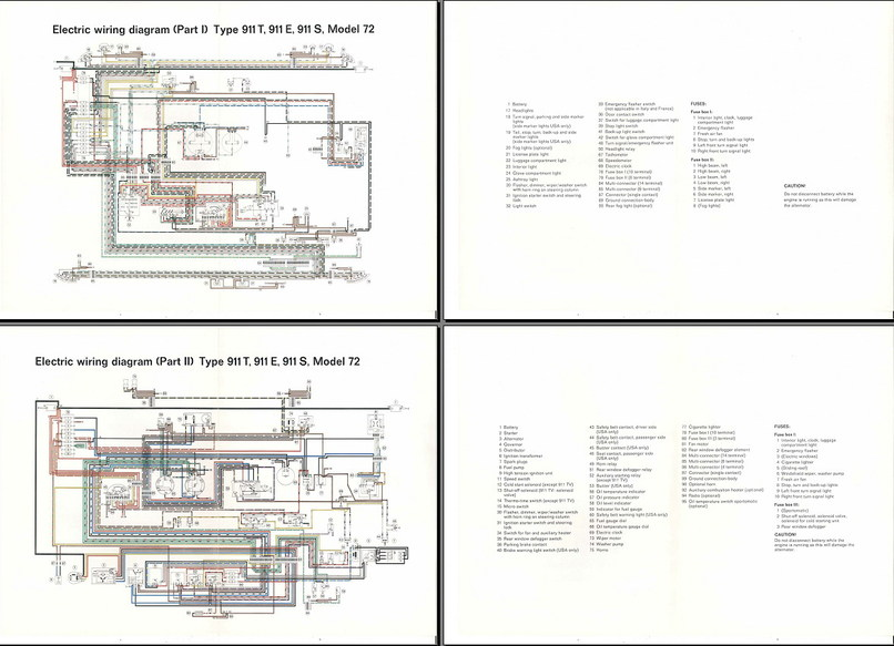 electric wiring diagram 911 (1972) - elektrische installatie - techniek - alles over de 911 en ... 1985 porsche 911 wiring diagram